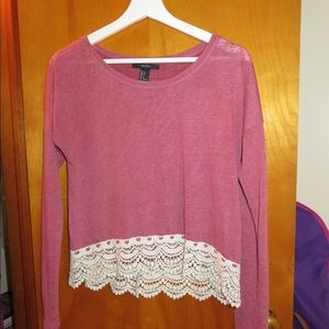 Forever 21 Pink Long Sleeve Top with White Cream Lace Hem